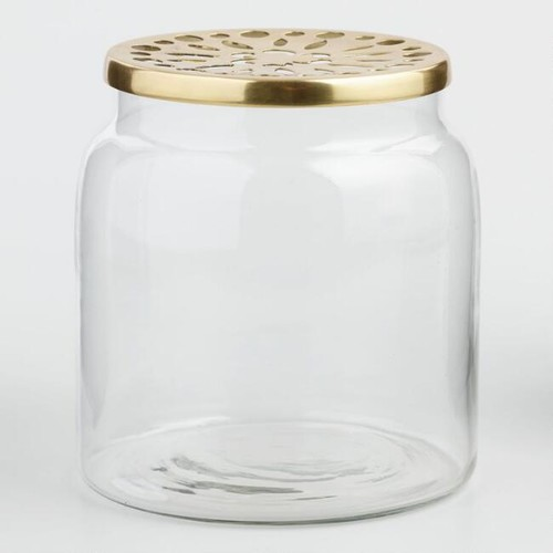 Clear Vase with Brass Lid