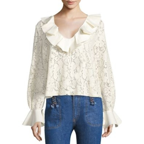 SEE BY CHLOÉ Ruffled Lace Bell Sleeve Blouse