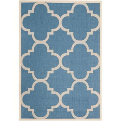 Safavieh Courtyard Blue/Beige 7 ft. x 10 ft. Indoor/Outdoor Area Rug