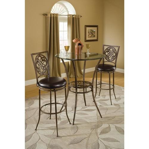 Hillsdale Furniture Marsala 26 in. Gray Swivel Cushioned Bar Stool