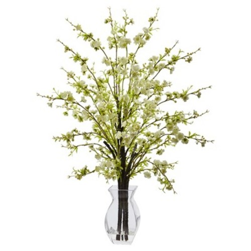Cherry Blossom in Glass Vase White - Nearly Natural