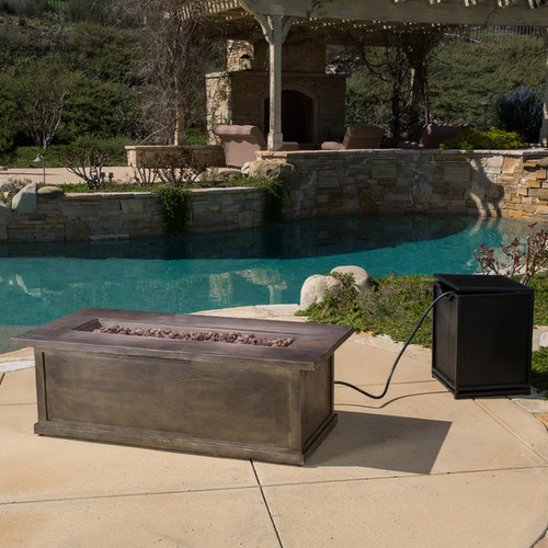 Anchorage Outdoor 56-inch Rectangular Liquid Propane Fire Table with Lava Rock by Christopher Knight Home - Brown