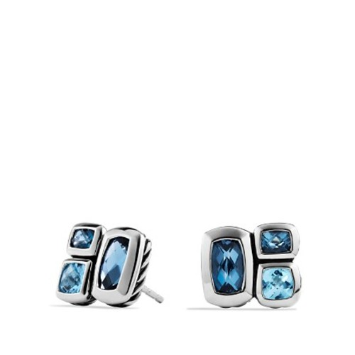 Confetti Stud Earrings with Blue Topaz and Hampton Blue Topaz
