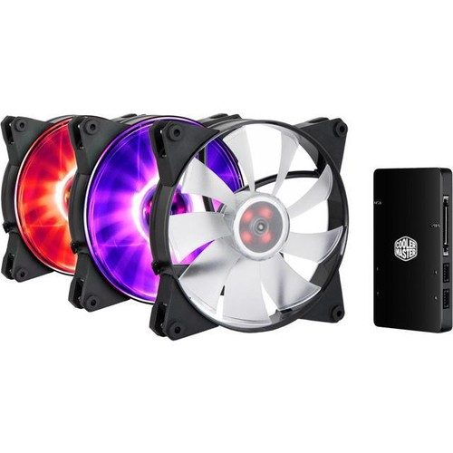 3 MasterFan Pro 140 Air Flow RGB with Jet-Inspired Fan Blade, Noise Reduction Technology and Customizable Color Options with RGB LED Controller by Cooler Master