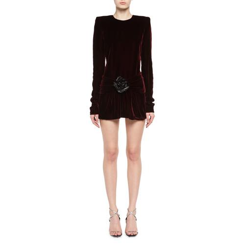 SAINT LAURENT Long-Sleeve Velvet Drop-Waist Dress