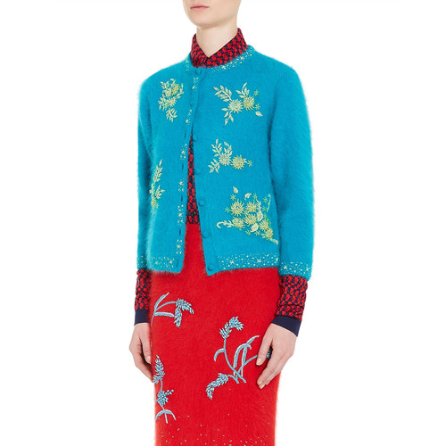 PRADA Beaded Angora-Blend Cardigan, Green