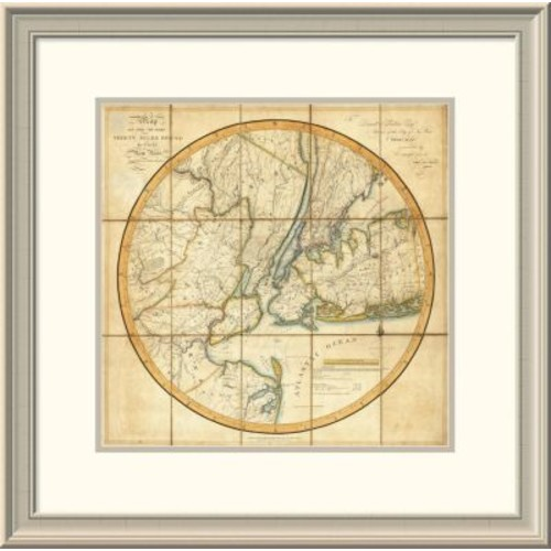 East Urban Home 'Map of the Country Thirty Miles Round the City of New York, 1811' Framed Print