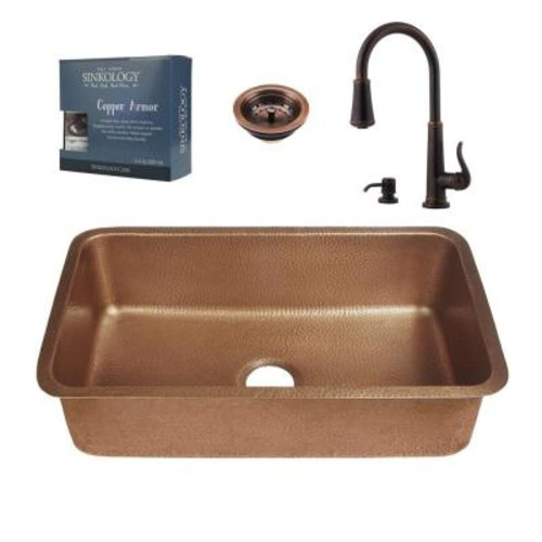 SINKOLOGY Pfister All-in-One Orwell Copper Undermount 30 in. Kitchen Sink Kit with Ashfield Pull Down Faucet in Rustic Bronze