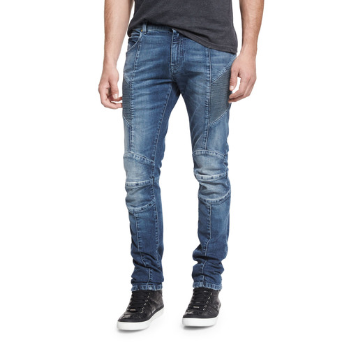 Skinny-Fit Biker Denim Jeans, Blue