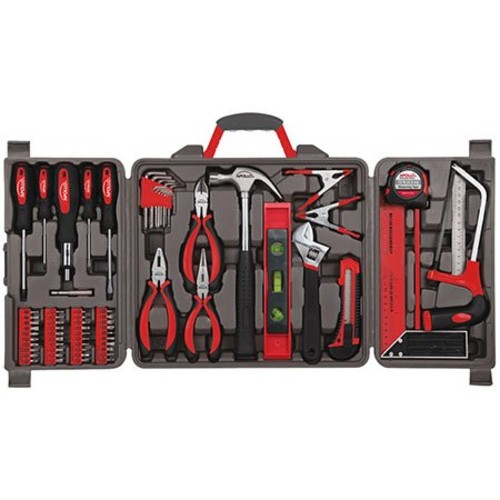 Apollo Tools DT0204 71 Piece Household Tool Kit with Most Reached for Hand Tools in Storage Case [Red]