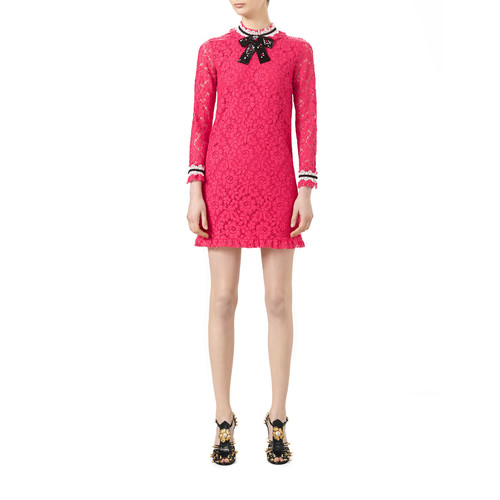 GUCCI 3/4-Sleeve Embroidered Cluny Lace Dress, Pink