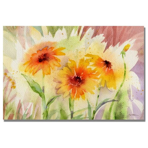 Shelia Golden 'Medow Daisey Trio' Canvas Wall Art 30 x 47