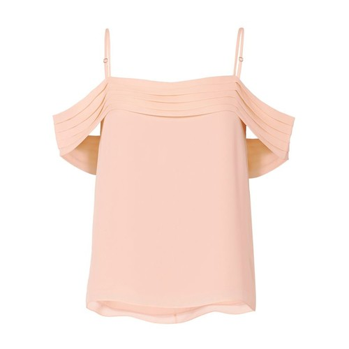 T BY ALEXANDER WANG Pleated Shoulder Pink Top
