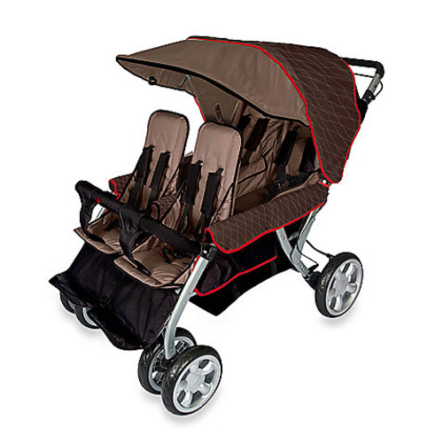 Foundations The Quad LX 4-Passenger Stroller with Dual Folding Canopy in Brown