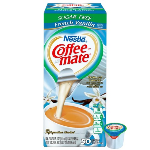 Nestle Coffee-mate Liquid Creamer Singles, Sugar-Free, French Vanilla, 0.38 Oz, Box Of 50