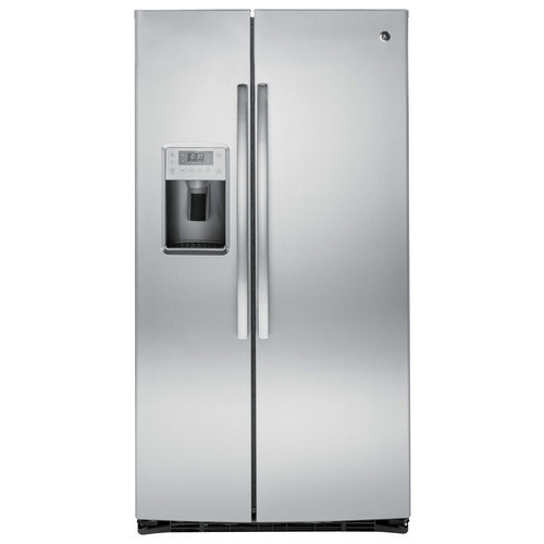 GE - Profile Series 25.4 Cu. Ft. Side-By-Side Refrigerator with Thru-the-Door Ice and Water - Stainless-Steel