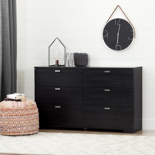 South Shore Reevo 6-Drawer Black Onyx Dresser