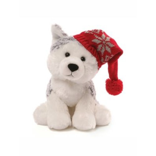 Baby's Christmas Flurry Husky with Cap Plush Toy