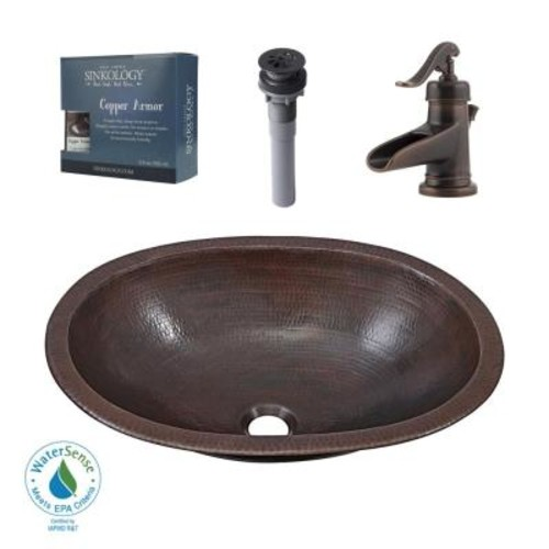 SINKOLOGY Pfister All-In-One Wallace Bathroom Sink Design Kit in Aged Copper with Centerset Rustic Bronze Faucet