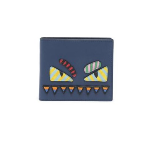 FENDI Stripe Monster Leather Wallet