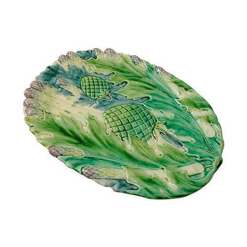 Majolica Asparagus & Artichoke Platter