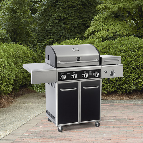 4 Burner Gas Grill with Side Steamer