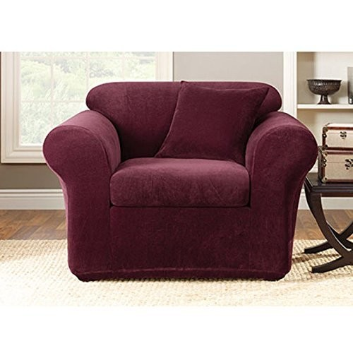 Sure Fit Stretch Metro 2-Piece - Chair Slipcover - Burgundy (SF39420)