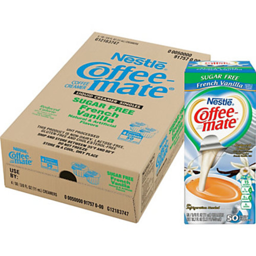 Nestl Coffee-mate Coffee Creamer Sugar-Free French Vanilla - liquid creamer singles - French Vanilla Flavor - 0.38 fl oz - 200/Carton - 50 Per Box - 1 Serving