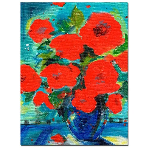 Trademark Global Sheila Golden 'Cobalt Vase with Red Blossoms' Canvas Art [Overall Dimensions : 24x32]
