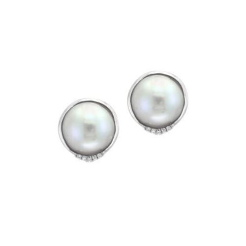 1MM White Mabe Pearl, Diamond & Sterling Silver Pierced Earrings