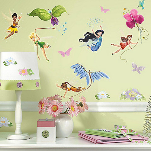 RoomMates Disney Fairies Peel & Stick Wall Decals with Glitter