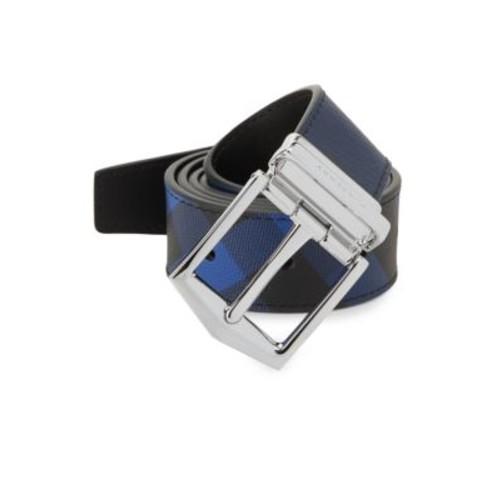 BURBERRY Checkered Medium Leather Belt