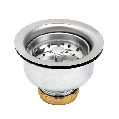 The Plumber's Choice 3-1/2 in. - 4 in. Kitchen Sink Stainless Steel Drain Assembly with Strainer Basket Stopper Double Cup Design