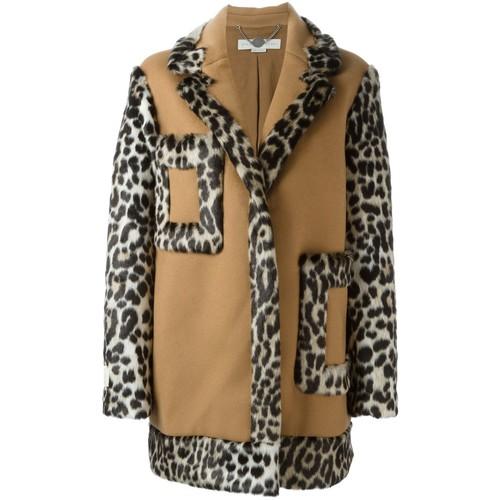 STELLA MCCARTNEY Oversize Leopard Accent Coat