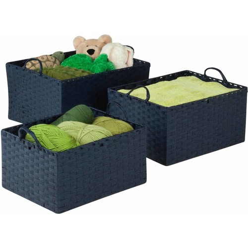 Honey Can Do Paper Rope Basket with Handles, Blue (Pack of 3)