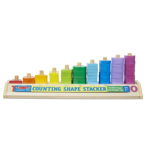 Melissa & Doug Counting Shape Stacker, Wooden Educational Toy with 55 Shapes and 10 Number Tiles