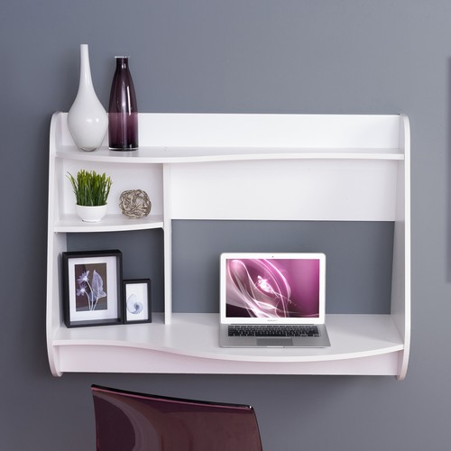 Prepac Kurv White Desk with Shelves