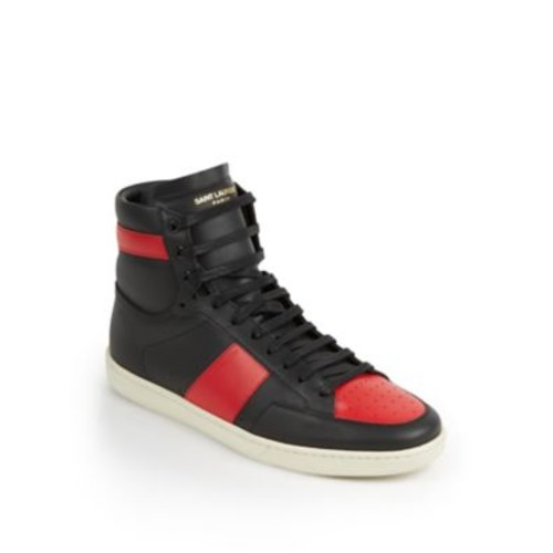 SAINT LAURENT Colorblocked Leather High-Top Sneakers