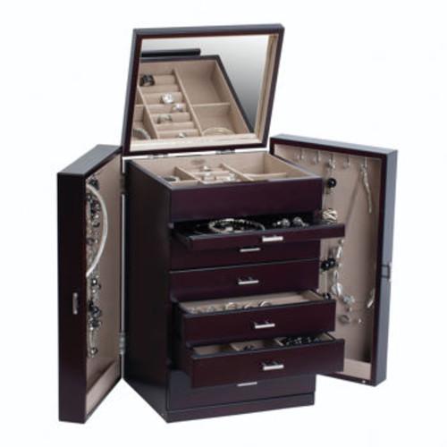 Mele & Co. Geneva Upright Wooden Jewelry Box in Java Finish