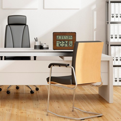 La Crosse Technology Backlight Atomic Full Calendar Digital Clock with Extra Large Digits in Walnut finish