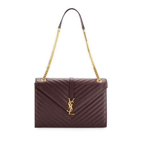 SAINT LAURENT Monogram Large Kate Chain Shoulder Bag, Bordeaux