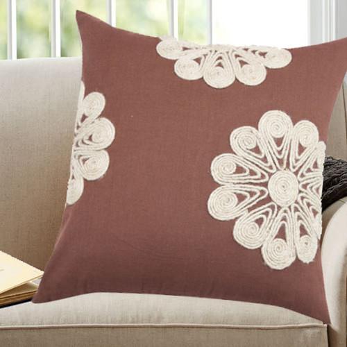 Brown Cotton/Jute Floral Throw Pillows (Set Of 2)