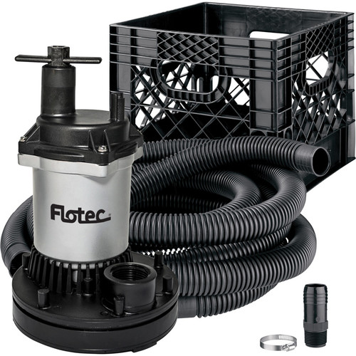 Flotec High-Performance Stow & Flo Utility Pump Kit  Includes Pump, Large Diameter Hose and Storage Crate, Model# FPOS2600RP