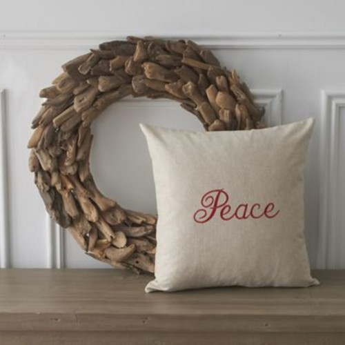 County Road Holiday Words Peace Cotton Throw Pillow