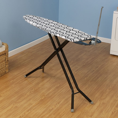 Household Essentials Deluxe Rectangle 4-Leg Ironing Board with Natural Cotton Cover
