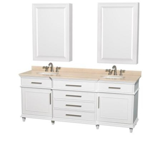 Wyndham Collection Berkeley 80 in. Double Vanity in White with Marble Vanity Top in Ivory, Undermount Round Sinks and Medicine Cabinets