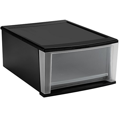IRIS 17 Quart Stacking Drawer, Black [Black, 17-Quart]