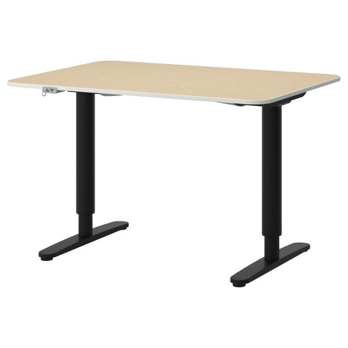 BEKANT Desk sit/stand, black-brown, white