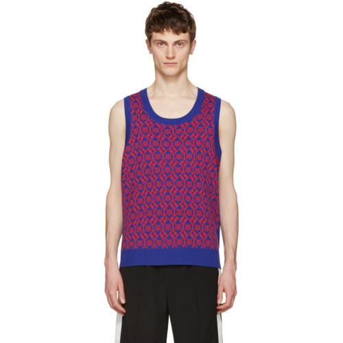 GUCCI Blue & Red Exit 32 Inchiostro Vest