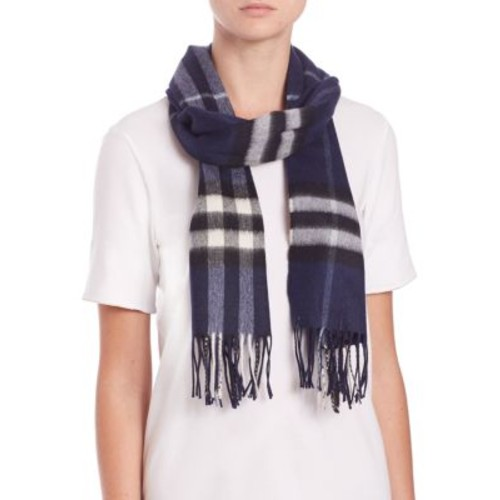 BURBERRY Navy Giant Check Cashmere Scarf